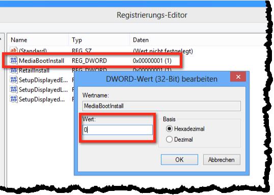 Registry bearbeiten